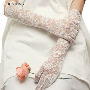 Stock White Lace Bridal Gloves