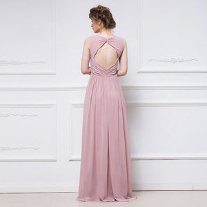 Scoop Neck Pleated Bridesmaid Dress