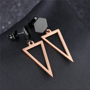 GAGAFEEL Trendy Triangle Drop Earrings For Women Rose Gold Color Never Fade Dangle Style Female Bridal Jewelry Gift Dropshipping