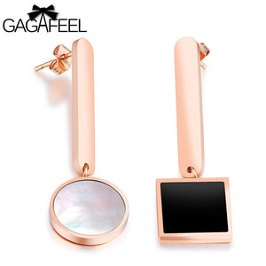 GAGAFEEL Asymmetry Imitation Pearl Earrings Women's Rose Gold Color Dangle Strip Style Female Bridal Jewelry Gift Dropshipping