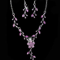 Romantic  Sparkling Clear Cubic Zirconia Marquise Leaf Design Zircon Necklace Earring Bridal Jewelry Set for Wedding #30