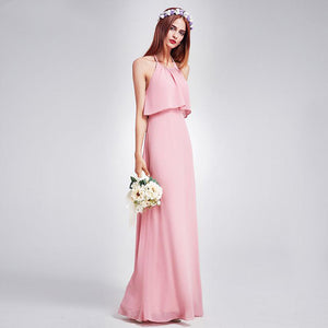 Floor Length Halter Bridesmaid Dress