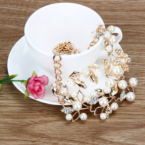 Bridal Crystal Wedding Jewelry Set Alloy Necklace Earrings Rhinestone Gold