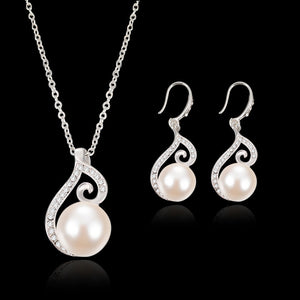 Women Bridal Imitation Pearls Crystal Wedding Jewelry Set Necklace Earrings