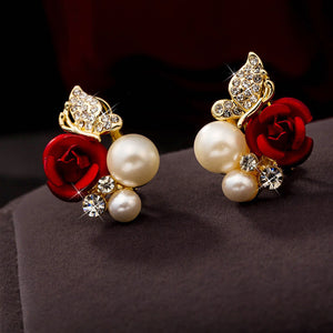 Women Classic Red Roses Butterfly Pearl Earrings Accessories Jewelry