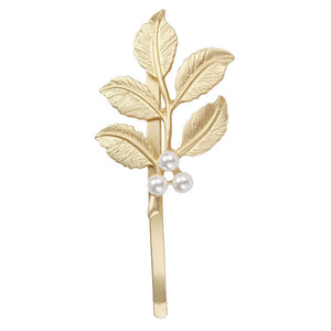 Lovely Pearl Embellishment Hair Clip Accessories Gold Leaves Hairpin