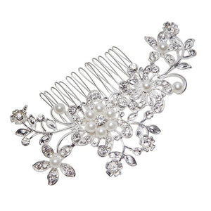 Women Bridal Wedding Flower Diamante Crystal Rhinestones Pearls Hair Clip Comb