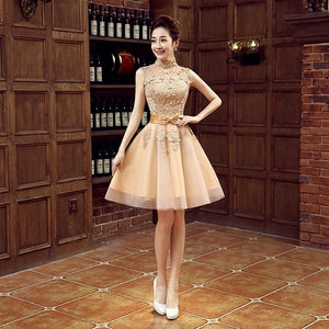 Short Gold Lace Bridesmaid Dress