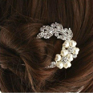 Bridal Wedding Rhinestones Crystals Pearl Hairpin Hair Clip Jewelry Flower