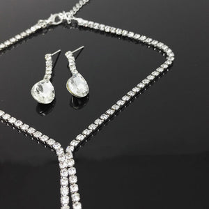 Prom Wedding Bridal Jewelry Crystal Rhinestone Necklace Earring Sets