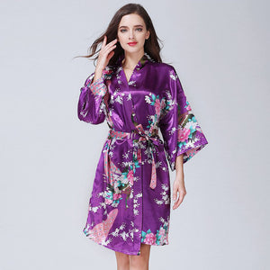 ORIENTAL FLORAL/PEACOCK DESIGN - KNEE LENGTH