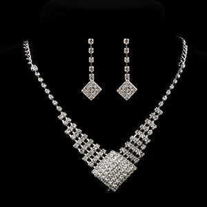 Prom Wedding Bridal Jewelry Crystal Rhinestone Necklace Earring Sets B