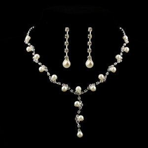 Prom Wedding Bridal Jewelry Crystal Rhinestone Necklace Earring Sets A