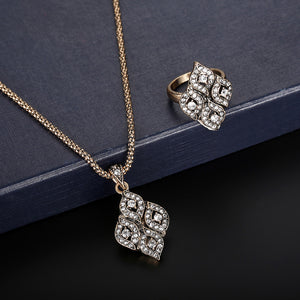 Women Zircon Retro Necklace Earrings Ring Wedding Party Bridal Jewelry Set A
