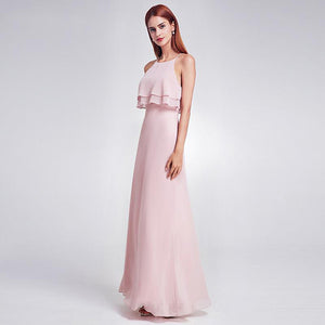 Floor Length Ruffled Sleeveless Bridesmaid Dress