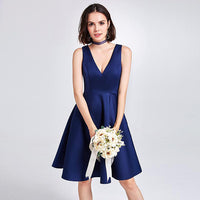 Sleeveless V-Neck Bridesmaid Dress