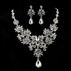 Prom Wedding Bridal Jewelry Crystal Rhinestone Necklace Earring Sets F