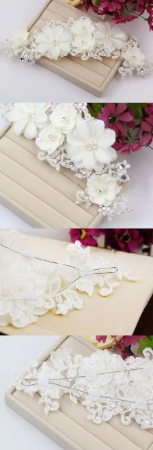 New Handmade Tiara Wedding Bridal Floral Lace Pearl Headpiece Hairpin