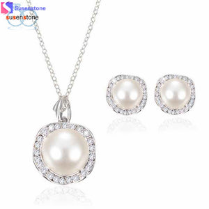 SUSENSTONE Simulated pearl Women Bridal Crystal Wedding Jewelry Set Alloy Necklace Earrings Rhinestone