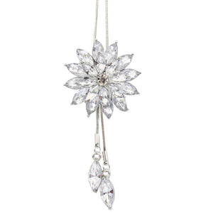 Women Charm Bridal Engagement Crystal Rhinestone Snowflake Pendant Necklace A