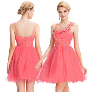 Short Spaghetti Straps Bridesmaid Dress