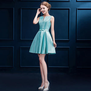 Short Sleeveless Poplin Bridesmaid Dress