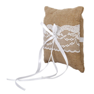 15*15cm Bridal Wedding Ceremony Pocket Ring Bearer Pillow Cushion with Satin Ribbons