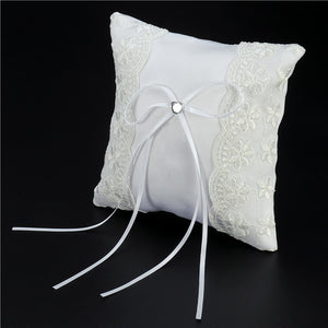 15*15cm Lace Flower Decorated Bridal Wedding Ceremony Pocket Ring Bearer Pillow Cushion with Satin Ribbons