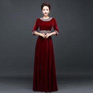 Half-Sleeve Corduroy Bridesmaid Dress