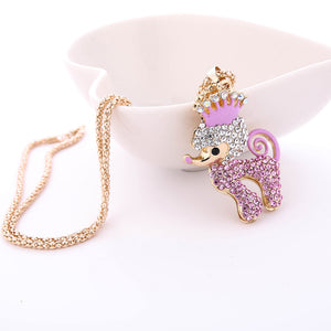 Fashion Women Charm Bridal Engagement Crystal Rhinestone Cute Pendant Sweater Necklace