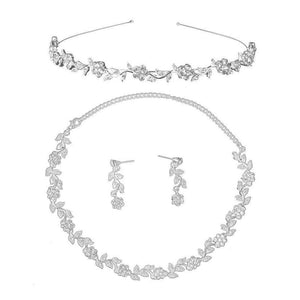 Bridal Wedding Rhinestone Decorated Floral Jewelry Set Tiara Necklace Earrings