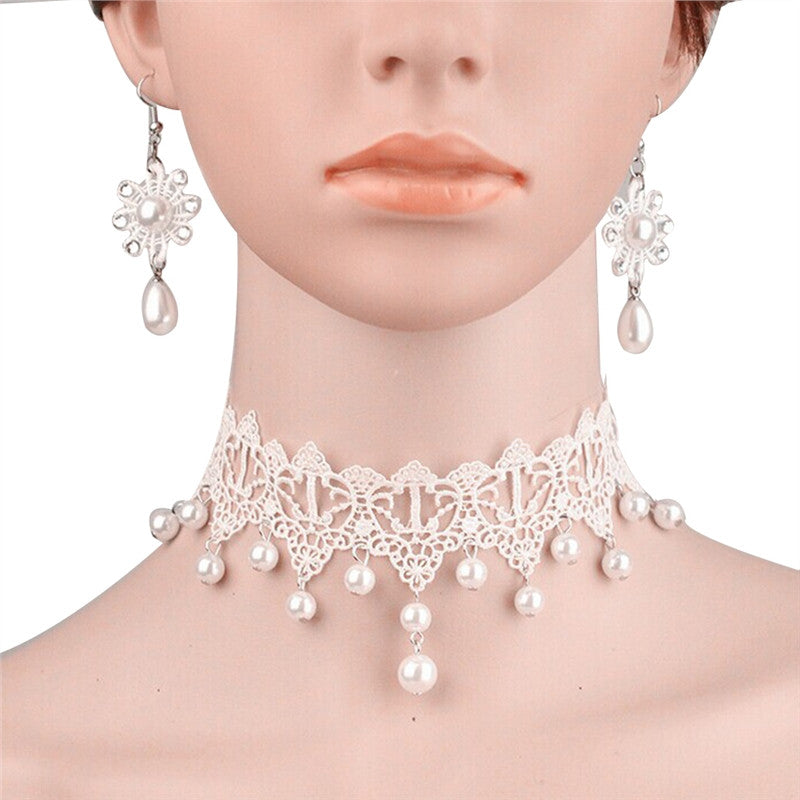 Fashion Delicate Women s Wedding Bridal Flower  Pearl Decor Necklace w -  The Lovely Find 4c3eee0228f6