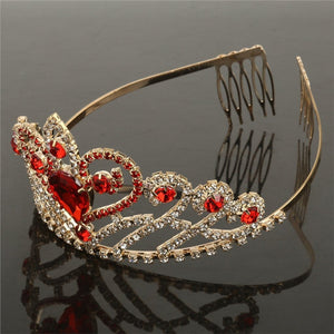 Crystal Rhinestone Gold Red Hair Tiara Crown with Comb Wedding Party Women Bridal Headband