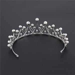 Bridal Crystal Tiara Crowns Pageant Prom Rhinestone Tiara Pearl Headpiece