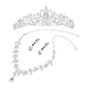 Bridal Wedding Jewelry Set Rhinestone Tiara Necklace Earrings