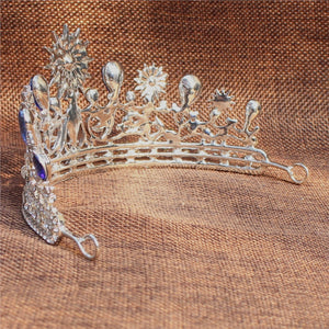 Wedding Prom Bridal Crown Rhinestone Crystal Decor Headband Veil Tiara