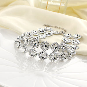 Lady Diamante Choker Necklace Rhinestone Silver Crystal Party Bridal Necklace