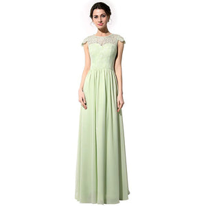 Chiffon and Lace Long Bridesmaid Dress