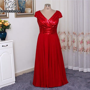 Hot Sale Cap Sleeves V Neck Burgundy Sequin Chiffon Plus Size Bridesmaid Dress Floor Length Long Wedding Party Gowns
