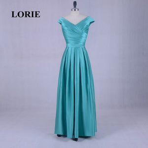 LORIE Wedding Party Dress V-Neck A-Line Pleats Satin Floor-Length Green Cap Sleeve bridesmaid dress Real Photo vestido madrinha