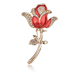 Crystal Red Rose Pins Rhinestone Flower Brooch Women Clothing Accessories