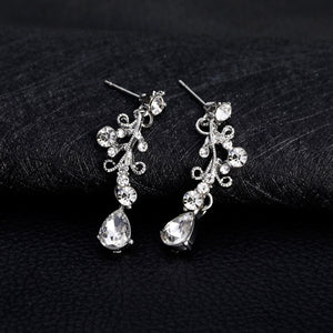 Alloy Rhinestone Glass Necklace Earrings pendants Set Wedding Bride Jewelry Gift
