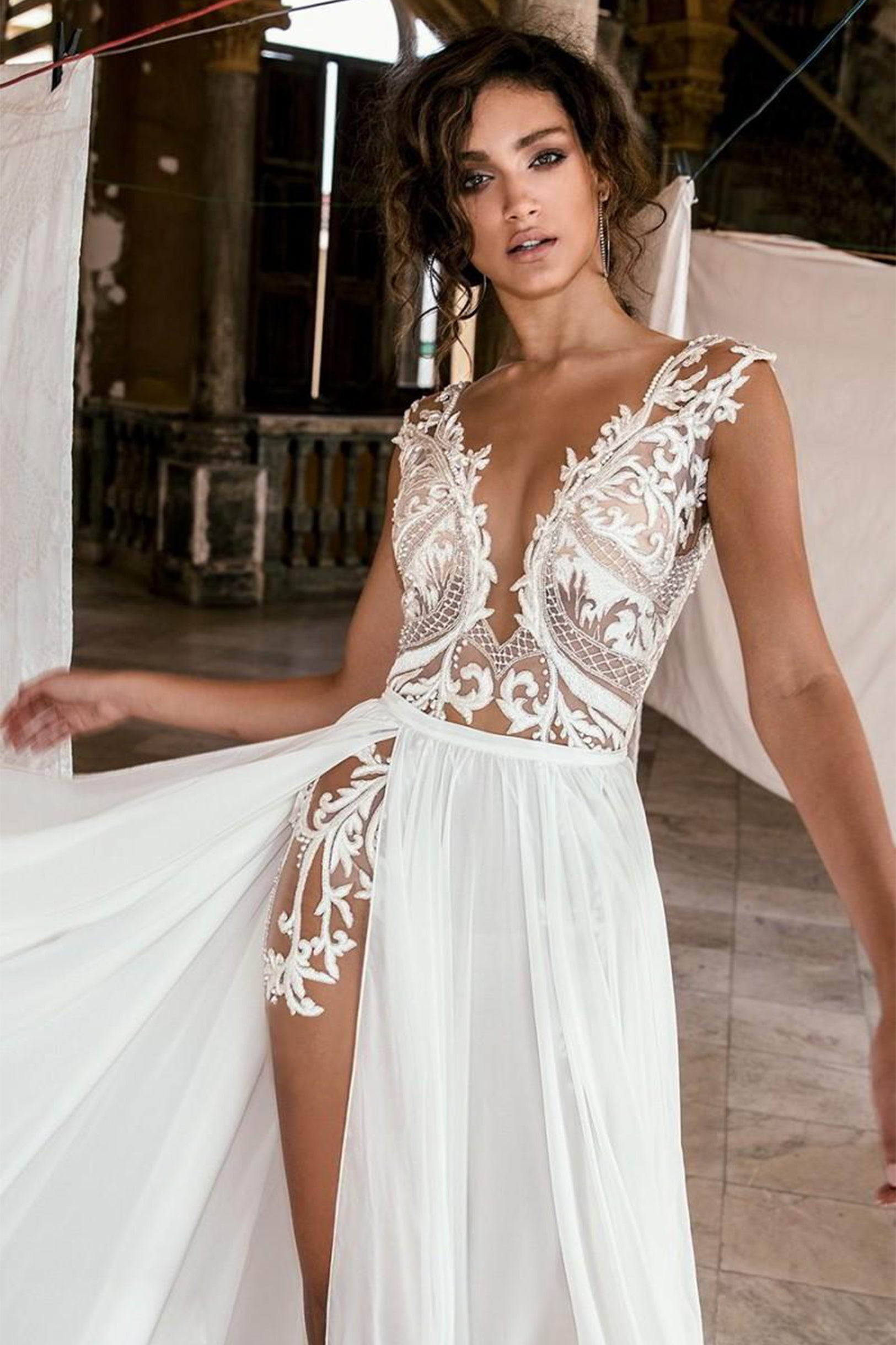Sallie Illusion Bohemian Lace Wedding Dress The Lovely Find
