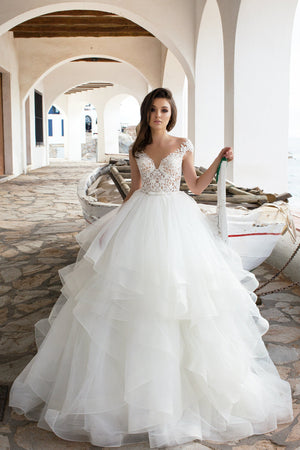 Ruffles Ball Wedding Gown Lace