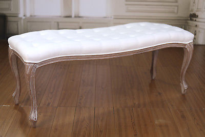 Stool Ottoman French Provincial Antique White Upholstered Soft Linen Button Seat