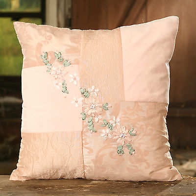 Cushion Throw Pillow Ribbon Embroidered Flower Filled 38cms BRAND NEW
