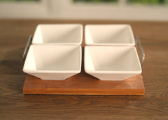 4 Bowl Serveware on Bamboo Base Dinner Party Dips and Crackers 17cms