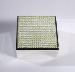 Glitter Lidded Square Jewellery Box Felt Lined Trinket Box  8.5cms