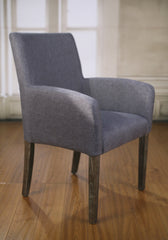 Dining Chair Grey Linen Oak Carver