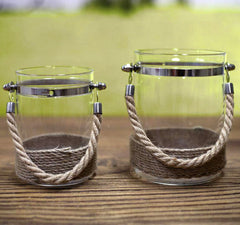 Set of 2 Rope Candle Holders French Provincial Home Decor Homewares Gift NEW